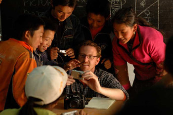 Brad teaching a photography class in rural Kham